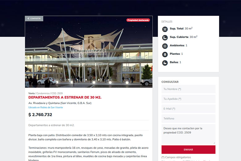 Website | Mazzei Propiedades